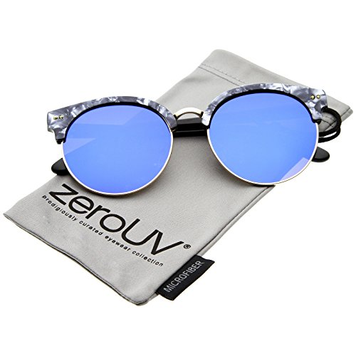 zeroUV - Womens Half-Frame Marble Finish Moon Cut Color Mirrored Lens Round Sunglasses (Charcoal-Gold / Blue - Moon Blue Sunglasses
