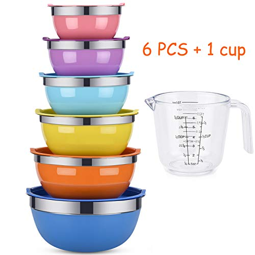 Mixing Bowls, Weiyudang 6 piece Salad Bowl Stainless Steel Basin Metal Bowls Set With Colorful Lids - Set Includes 2, 2.5, 3, 4, 5.5, 7Quart, Measuring Cup as a Gift (Lid Measuring Includes)