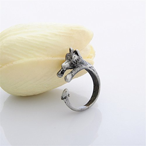 Kingbell Women's Fashion Style Animal Series Wolf Open Ring (Antique Silver, Gold) by Kingbell (Image #1)