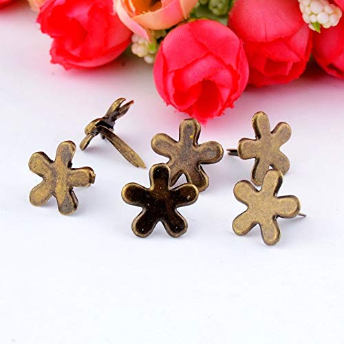 Garment Rivet - -50PCs Bronze Tone Pastel Flower Brads Scrapbooking Embellishment Holiday Decoration & Gift 14x14mm F0738