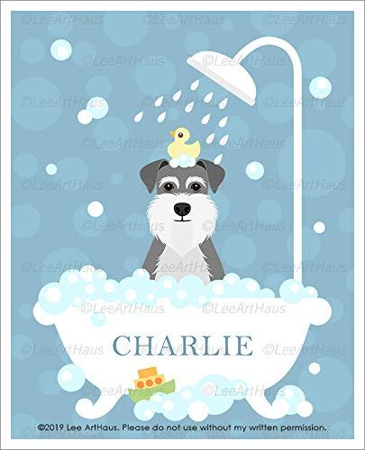 53N - Personalized Name Schnauzer Dog in Bubble Bath Bathtub UNFRAMED Wall Art Print by Lee ArtHaus