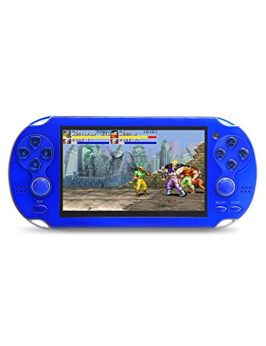 JXD new 4.3 inch 8GB build in 1200+ games for Arcade NEOGEO/CPS/FC/SFC/GBA/GBC/GB/SMC/SMD/SEGA Handheld Game Console Video Game Console game Player MP3 MP4 MP5 (Blue) by JXD (Image #1)