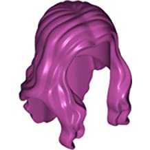 LEGO Minifigure Hair: Magenta Female Hair Long Wavy with Center Part x1 Loose