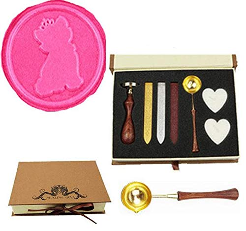 MNYR Vintage Cute Cat with Crown Wax Seal Stamp Kit Wood Handle Melting Spoon Sealing Wax Stick Candle Gift Box Set Wedding Invitation Embellishment Holiday Card Christmas Gift Wrap Package Seal Stamp