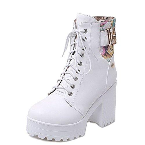 AgooLar White Heels top Boots PU up Assorted High Color Lace Low Women's UqUn6xwAp
