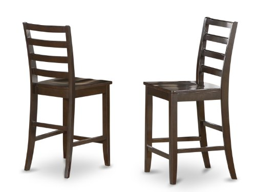 East West Furniture FAS-CAP-W Wood Seat Stool Set with Ladder Back, Set of 2 - Ladder Back Wood Seat Stool