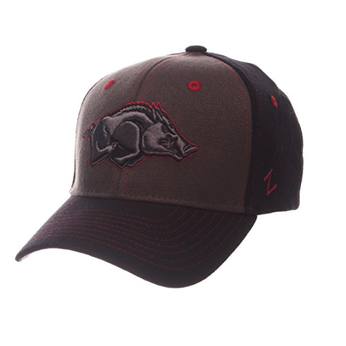 Zephyr NCAA Arkansas Razorbacks Adult Men Vibe Cap, Medium/Large, Gray/Black