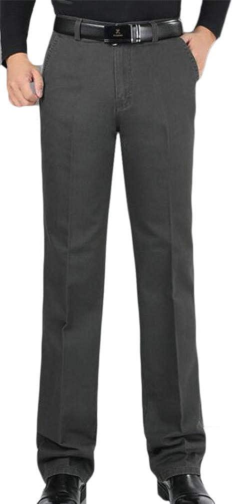 Hajotrawa Mens Plus Size Vogue Padded Pocket High Waist Straight Pants