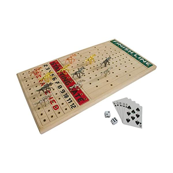 Fineni Horse Racing Board Game With Luxurious Durable Metal Horses 11 Pieces 1 Design 4 Colors 3 Gold 3 Silver 3 Black And 2 Bronze Real Birch Wood Horseracing Game Board Golden Card Dice Games Store
