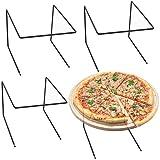 MyGift Black Metal Tabletop Pizza Platter Riser Stands, Set of 4