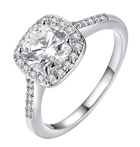 (Cutesmile Fashion Jewelry 925 Sterling Silver CZ Crystal Square Rings Wedding Rings for Women (5))