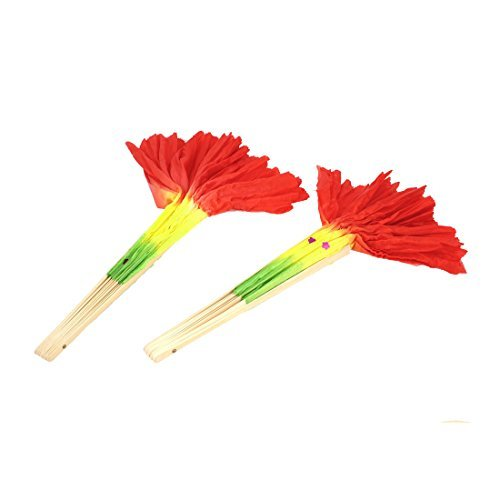 eDealMax Fait  la Main Dance Danse du Ventre Long bambou Fan Rouge Jaune 2 pcs