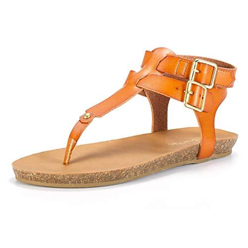 DREAM PAIRS Women's T Strap Thong Flat Sandals Size 5 M US Tan