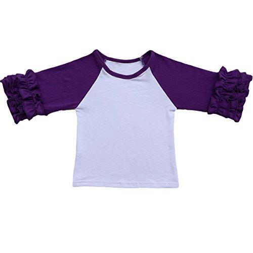 (Toddler Girls Icing Ruffle Shirts Kids Raglan T Shirts Baseball 3/4 Sleeves Baby Cotton Tee Tops Little Big Sisters Family Matching Crew Neck T-Shirt Birthday Casual School Clothes Dark Purple)