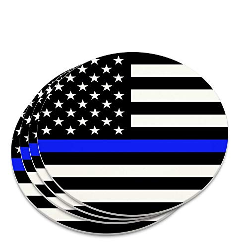 Thin Blue Line American Flag Novelty Coaster Set