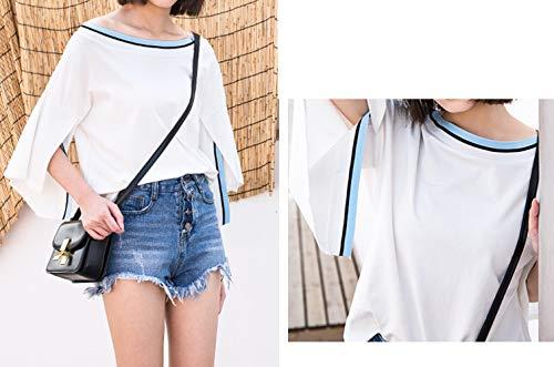 Donne Spaccato Casual Tumblr Estivi Collo Tops Cime Simple Moda fashion 3 shirt Sciolto Bluse Bianca2 T 4 Patchwork Tee Rotondo Maniche Camicie Maglietta qICw5EU5