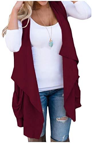 ピクニックをするプロフェッショナル謎sayahe 女性のソリッドノースリーブオープンフロントのウェストコートのポケット不規則な突風アウターウェア