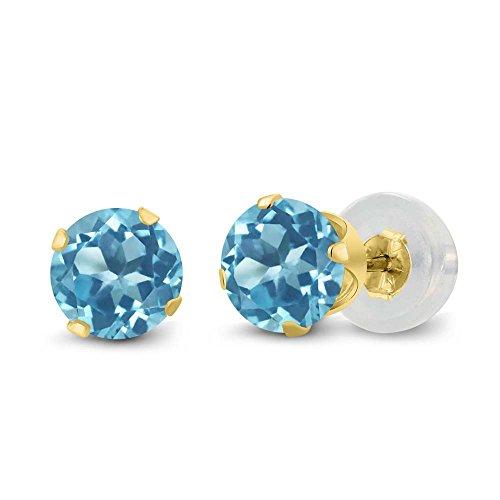 Gem Stone King 14K Yellow Gold Round Blue Topaz Women's Stud Earrings (1.20 cttw, 5MM)