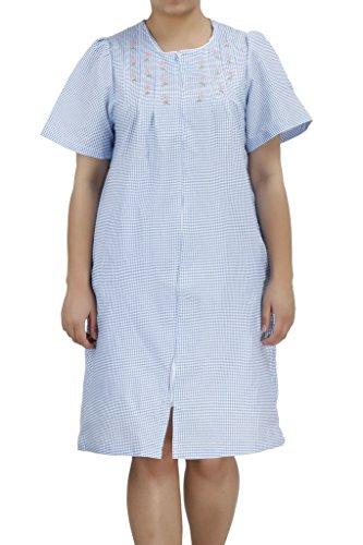 Ezi Women's Duster4 Short Sleeve Zip up Cotton House Dress