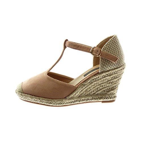 Femme Talon 8 Bi Espadrille Mode Angkorly 5 Sandale Salomés Cm Tréssé Corde Plateforme Rose matière Chaussure Cheville Compensé Lanière f7qwxBqZ