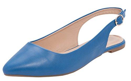 Cambridge Selezionare Donna Chiuso Punta Appuntita Allacciata Slingback Piatto Blu Pu