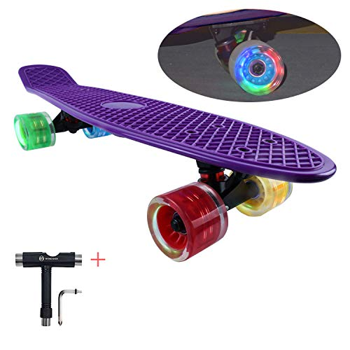 WHOME Kids Skateboards with 60x45mm LED Light Wheel - 22