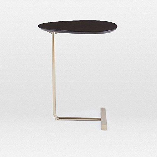 Oak Oval Magazine Rack - D&L Pine Wood Waterproof Side Table, Oval C Shape Sofa Table Bedroom Night Table Coffee Table Modern Simple Telephone Table-Black L45xW30x60cm