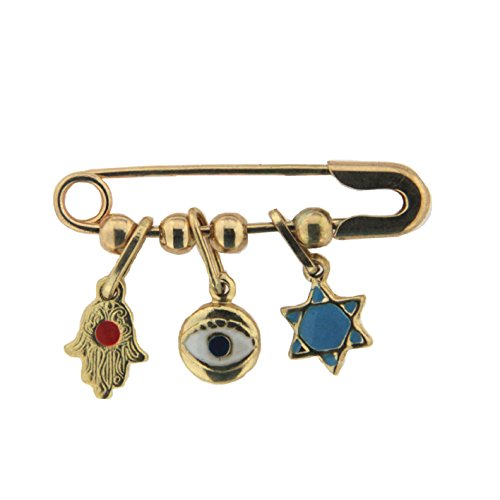 18K Yellow Gold Red, Blue White Enamel Jewish Charm Safety Pin (1 inch long) by Amalia