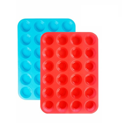 Silicone Mini Cupcake Pan Silicone Molds, 2 Pack Silicone Mini Muffin Pan with 24 Cups Muffin Tin (Red and Blue) ()
