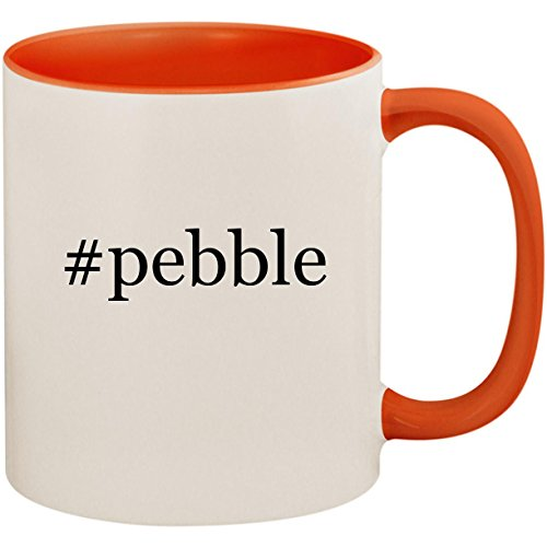#pebble - 11oz Ceramic Colored Inside and Handle Coffee Mug Cup, Pink -