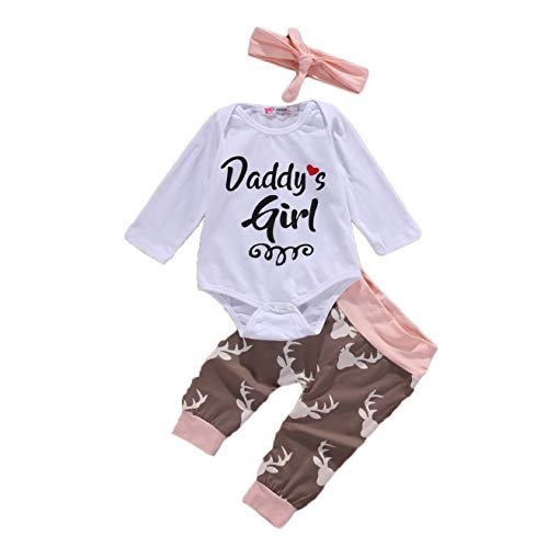Newborn Infant Baby Girl Letter Long Sleeve Romper Halen Floral Pants Cute Headband 3 PCS Outfit Clothes Set (0-6 Months, Newborn Outfit Clothes) from Dramom