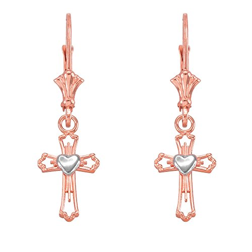 Heart Cross Dangle Earrings in 14k Two-Tone Rose and White Gold