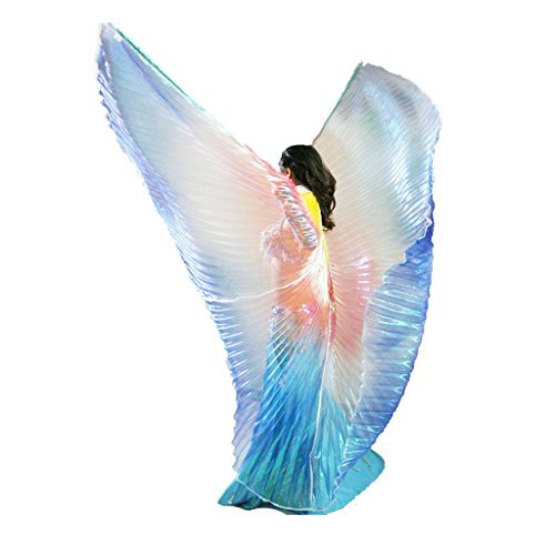 Isis Costume Wings (Pilot-trade Children's Belly Dance Costume Isis Wings Blue Yellow Red Interval Colors)