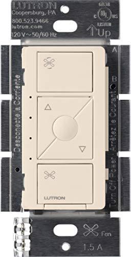 Lutron Caseta Wireless Smart Fan Speed Control, Single-Pole, PD-FSQN-LA, Light Almond, Works with Alexa, Apple HomeKit, and the Google ()