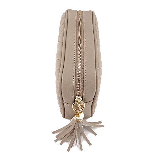 Simple Shoulder Crossbody Bag With Metal Chain Strap And Tassel Top Zipper (Taupe) by 153corp (Image #3)
