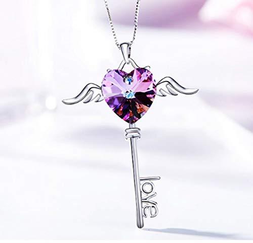 QWERST女性ネックレススターリングシルバーハート型ペンダントファッションエレガントシンプル絶妙なネックレス最高の贈り物   B07MCGX8SK