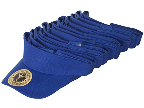TopHeadwear 12 Pack Youth Size Sun Visor - (Royal Youth Visor)