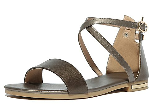 Flat Open Buckled Sandals Womens Wrap Heels Gold Ankle Cutout Toe Aisun Shoes Covered qEzUw1Hq