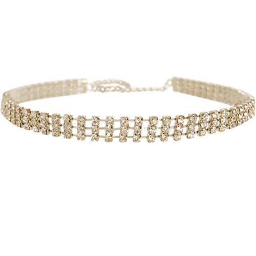 Humble Chic Women's Darling Rhinestone Choker Delicate Gold-Tone CZ Simulated (Designer Gold Jewelry)