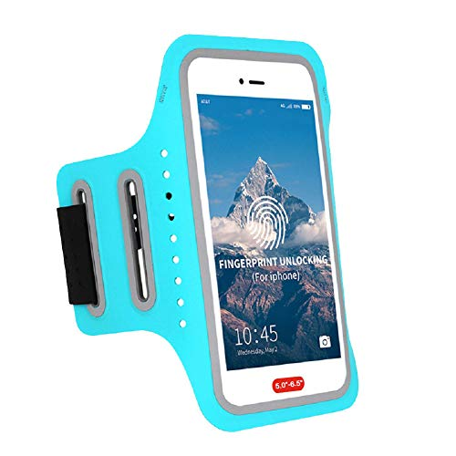 Waterproof Arm Phone Holder for Running Armband Compatible with iPhone Xs MAX,8 Plus,7 Plus,6 6S Plus,XR,XS,X, Fingerprint Touch ID,Key&Card Pouch,Adjustable Band for Excercise,Jogging(5.0-6.0 inch) (Running 7 Horses)