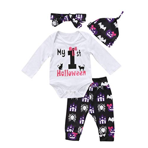 JOFOW Halloween Romper Toddle Baby Boys Girls Pant Set Infant Clothes Set Striped Pumpkin Cartoon Letter Jumpsuit Outfit -