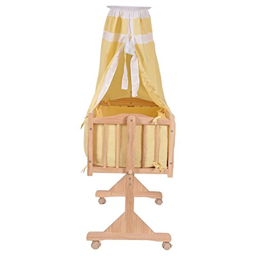 SKEMiDEX---Wood Baby Cradle Rocking Crib Bassinet Bed Sleeper Born Portable Nursery Yellow This Wooden Baby Cradle comes complete with everything your baby needs for sleep by SKEMiDEX (Image #2)