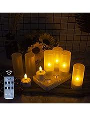 EuroFone Świece LED bezpłomieniowe wielokrotnego ładowania świeczki tealight z matowym uchwytem stacja ładująca, na dekoracje festiwale, wesela, Boże Narodzenie, zestaw 6 sztuk