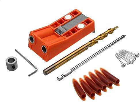 ドライバーセット、木工キットABS調整可能なプラスチック9.5 mmポケット穴ジグドリルガイド、磁石付き木工ジグ、木製ドリル付きドライバービット耐久性