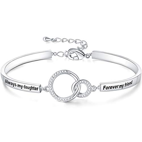 Ado Glo Birthday Gift for Her, Always My Daughter Forever My Friend Interlocking Circles Bracelet, White Gold Plated Fashion Jewelry for Women and Girls, Anniversary Xmas Present from Father, Mother