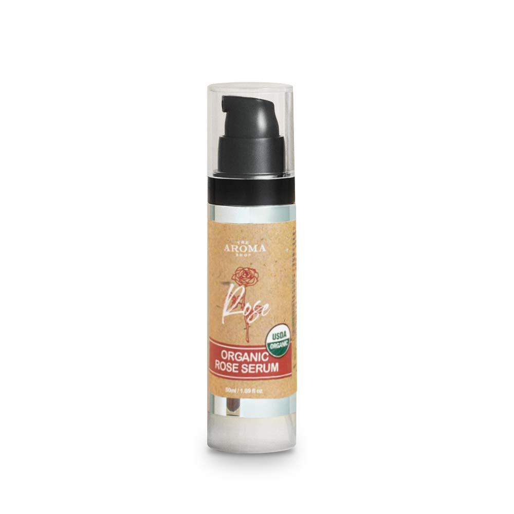 TheAromaShop Organic Rose Serum Chemical-Free Skin Care, Moisturizing, Soothing, Dry, Sensitive and Irritated Skin Serum, USDA Certified Organic, Pure Rose Oil, Blemishes Care – 1.69 Fl Oz