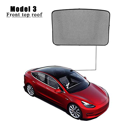 EVFIT Car Windows Sunshade Glass Roof Sunroof Sun Shade Holder Folding Customize Tesla Model 3 2018 2019 Accessories (Front Window)