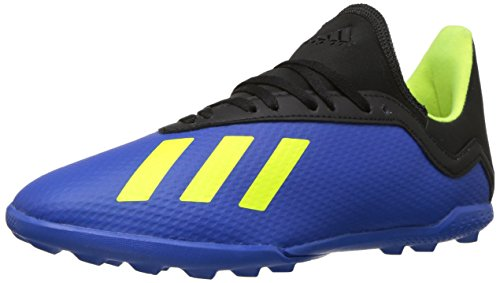adidas Unisex X Tango 18.3 Turf Soccer Shoe, Football Blue/Solar Yellow/Black, 5 M US Big Kid