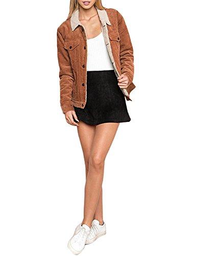 HaoDuoYi Womens Fashion Faux Fur Collar Corduroy Coat Winter Jacket(XXL) by HaoDuoYi (Image #4)