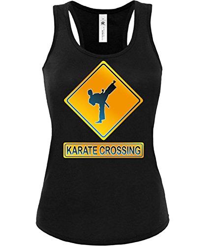 KARATE CROSSING mujer camiseta Tamaño S to XXL varios colores S-XL Negro / Blanco